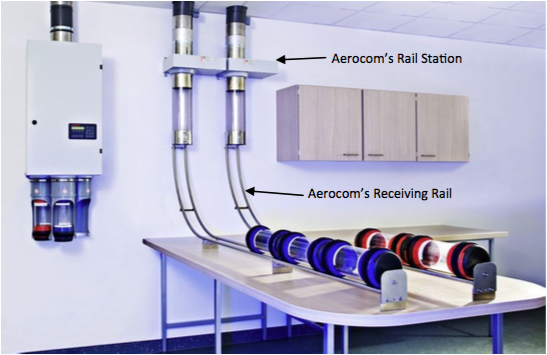 aerocom's rail station and receiving rail for pneumatic tube stations