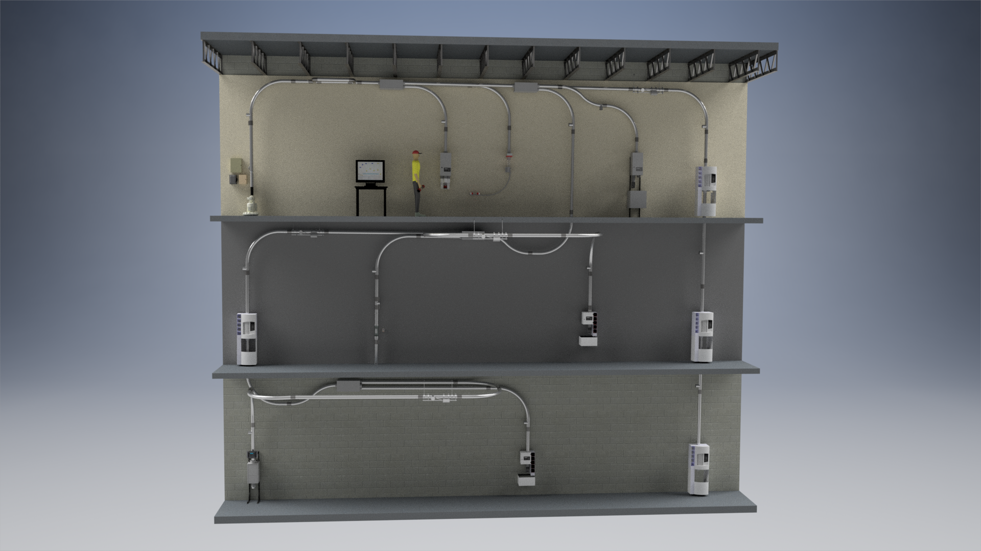 AC3000 Pneumatic Tube System Schematic Render